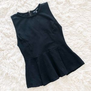 Topshop Black Peplum Sleeveless Top